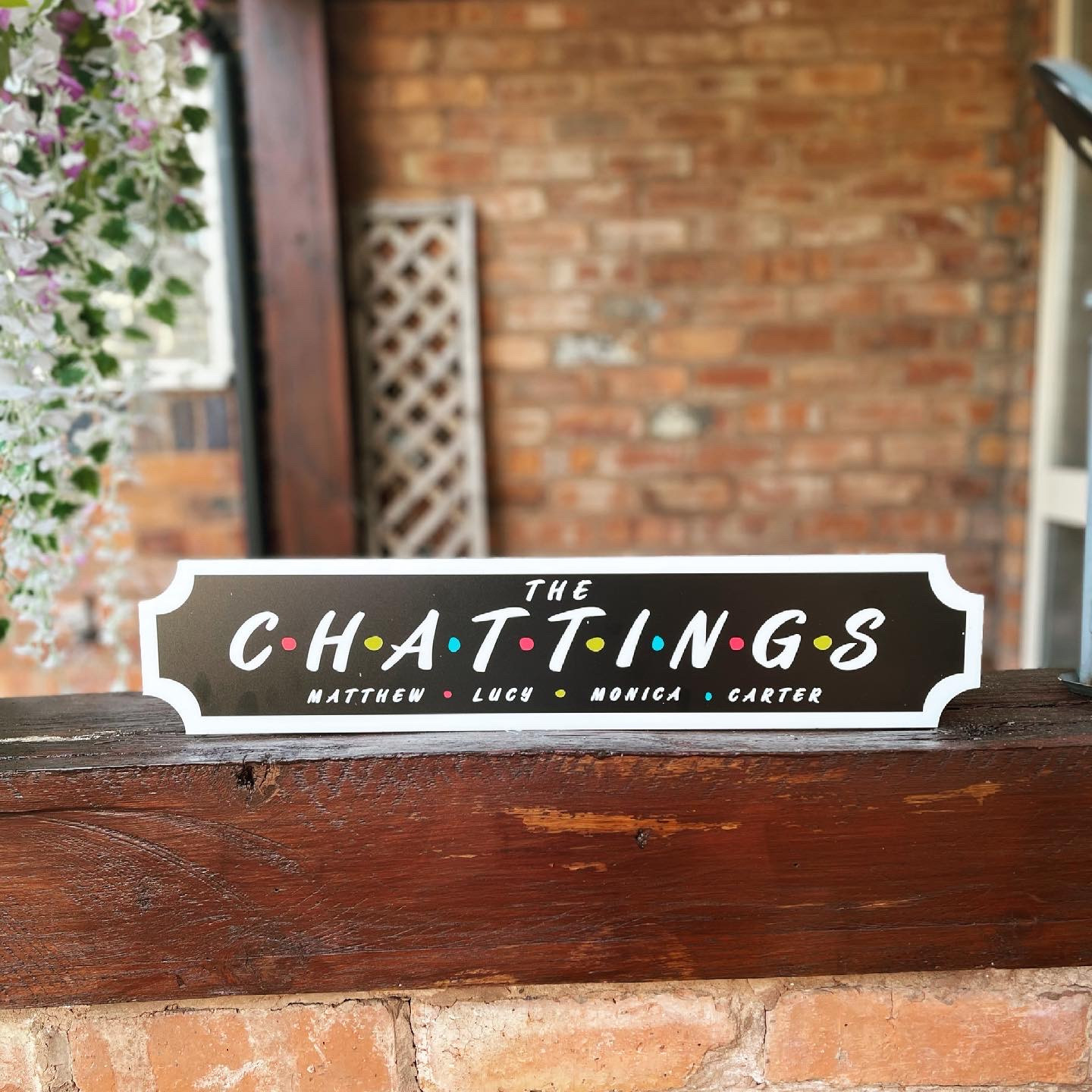 Personalised Black and Colour Dots Train Sign