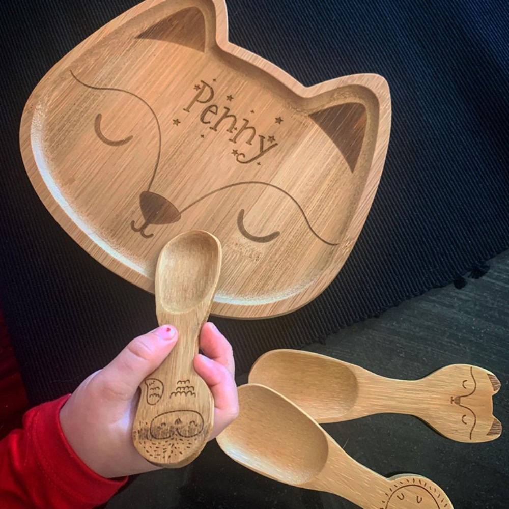 Personalised Bamboo Engraved Tray - Fox Shaped
