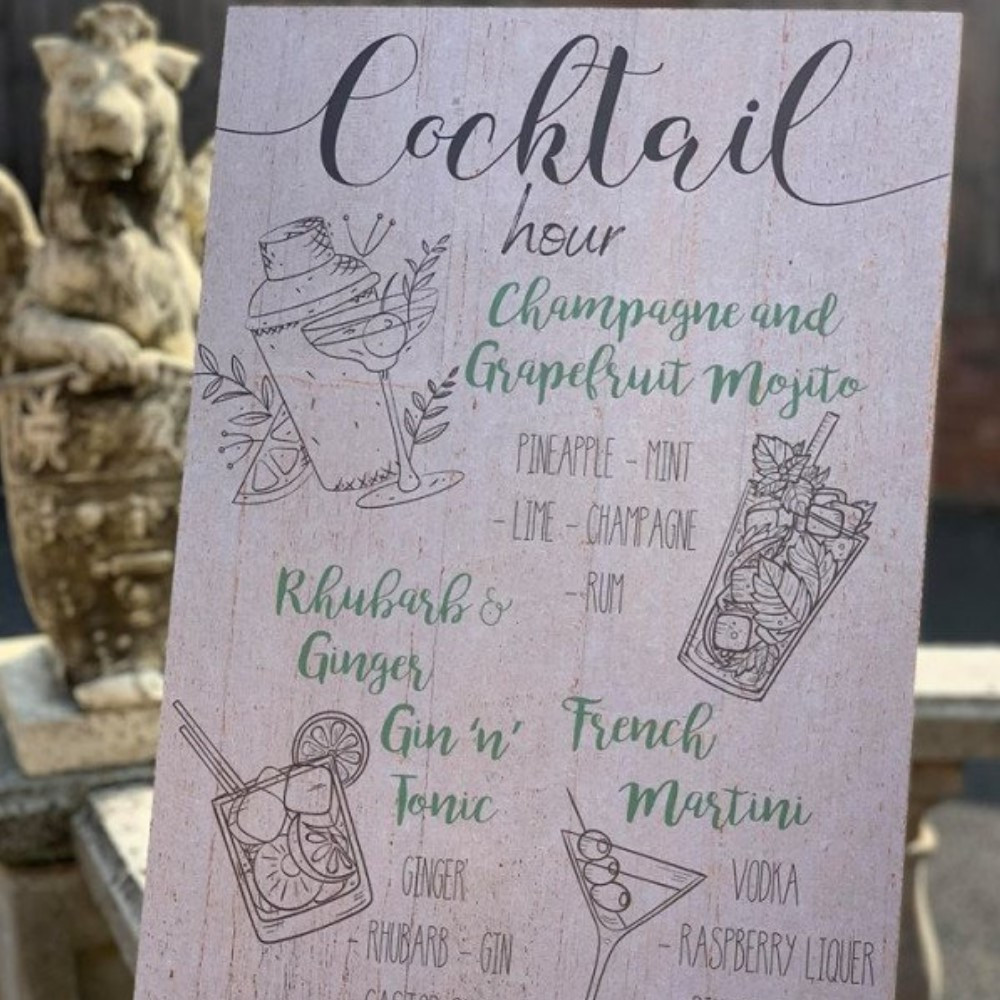 Personalised Wedding Drinks Reception Menu Sign