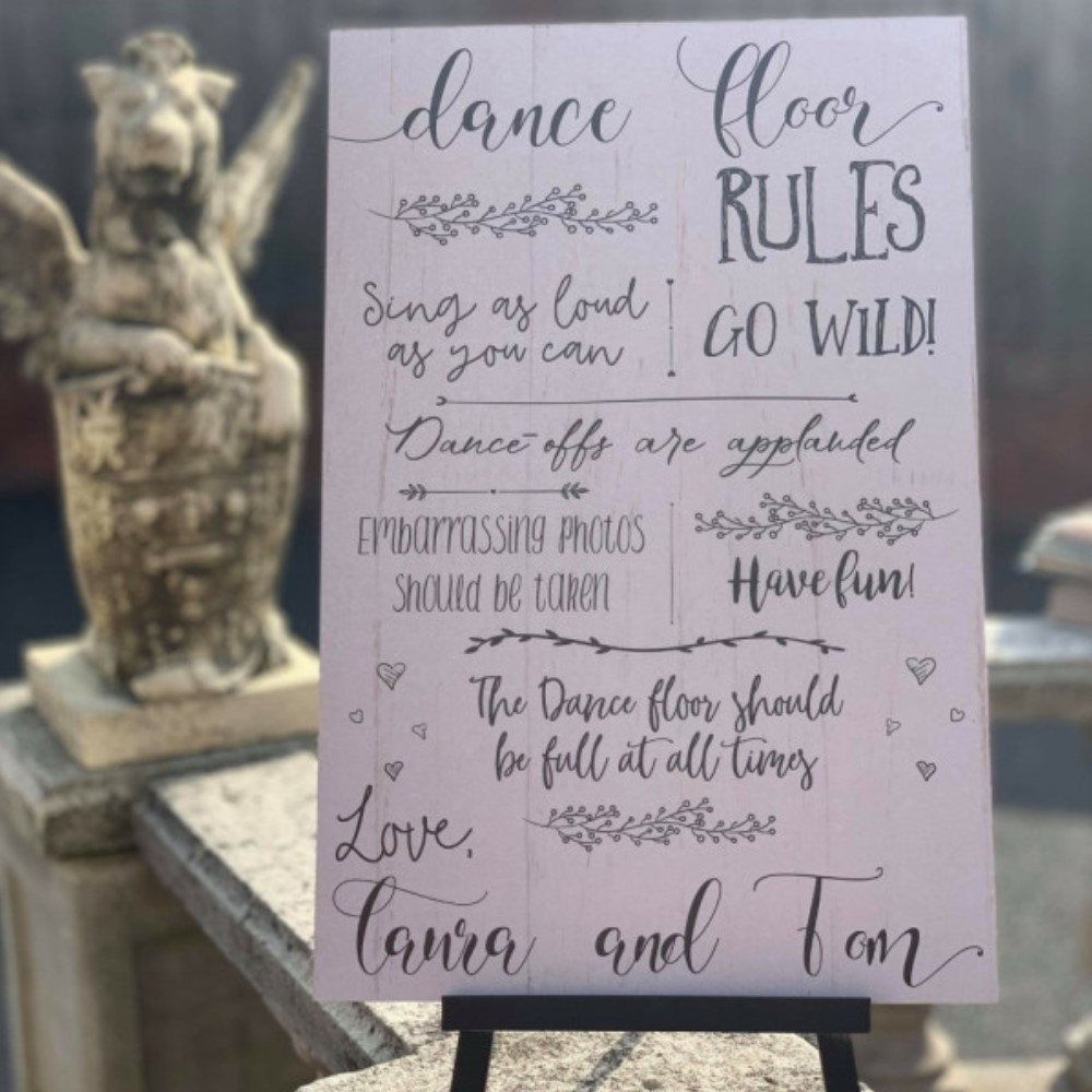Personalised Dance Floor Rules Sign