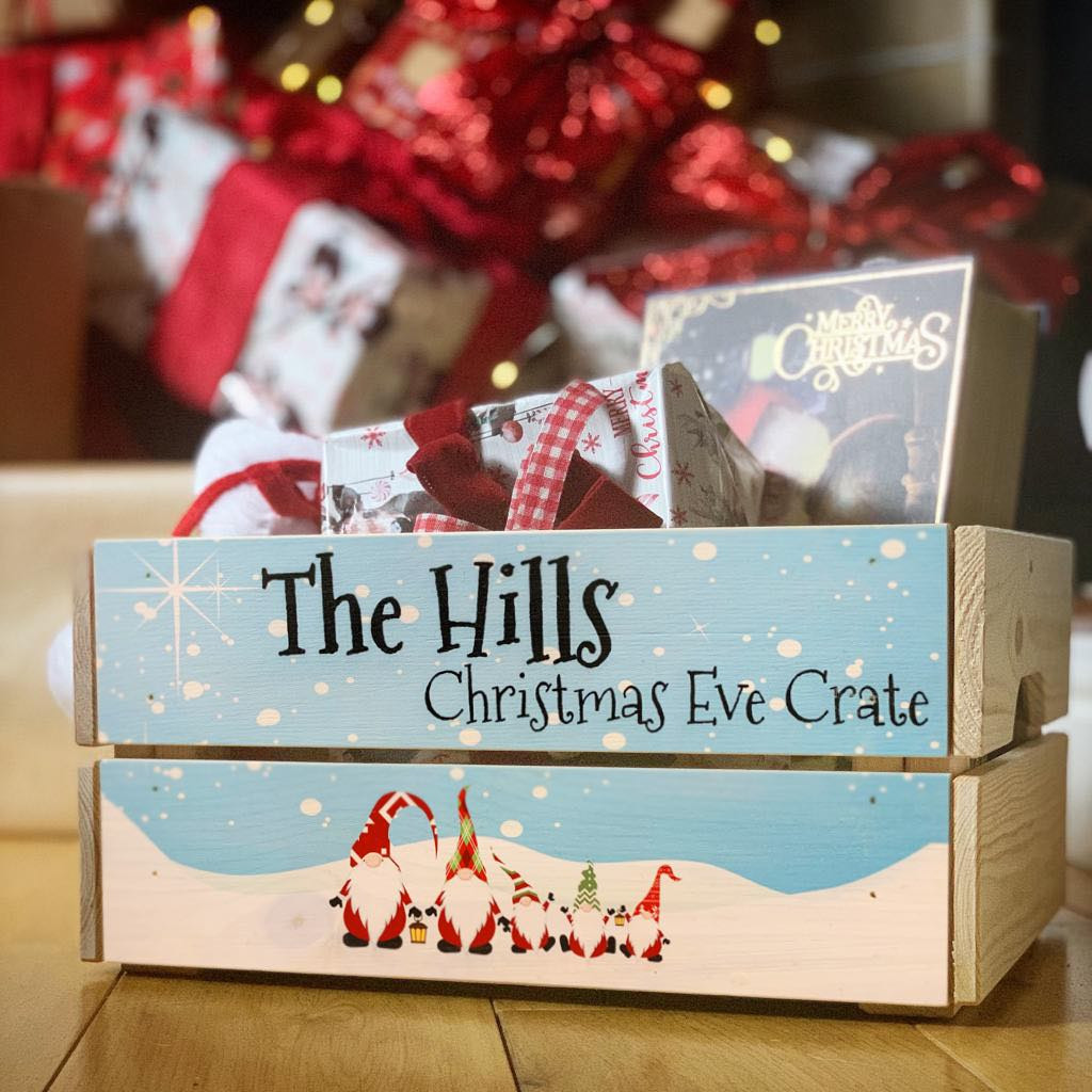 Personalised Christmas Eve Crate Gonk Family