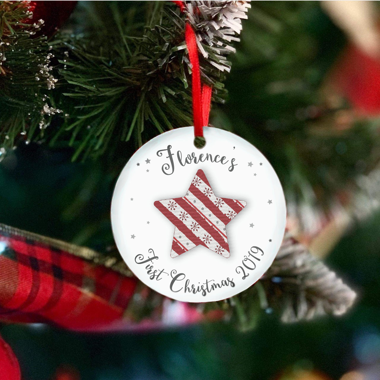 Personalised Star First Christmas Tree Decoration - Set of 2