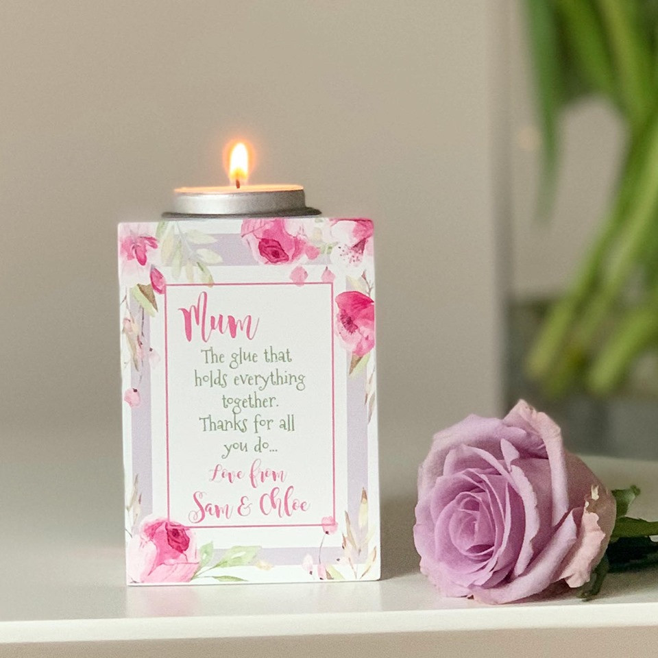 Personalised Floral Tea Light Holder - Mum