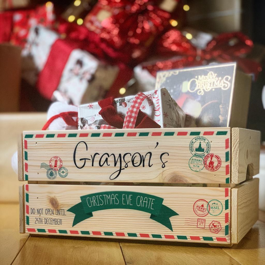 Personalised Christmas Eve Crate Letter and Stamps