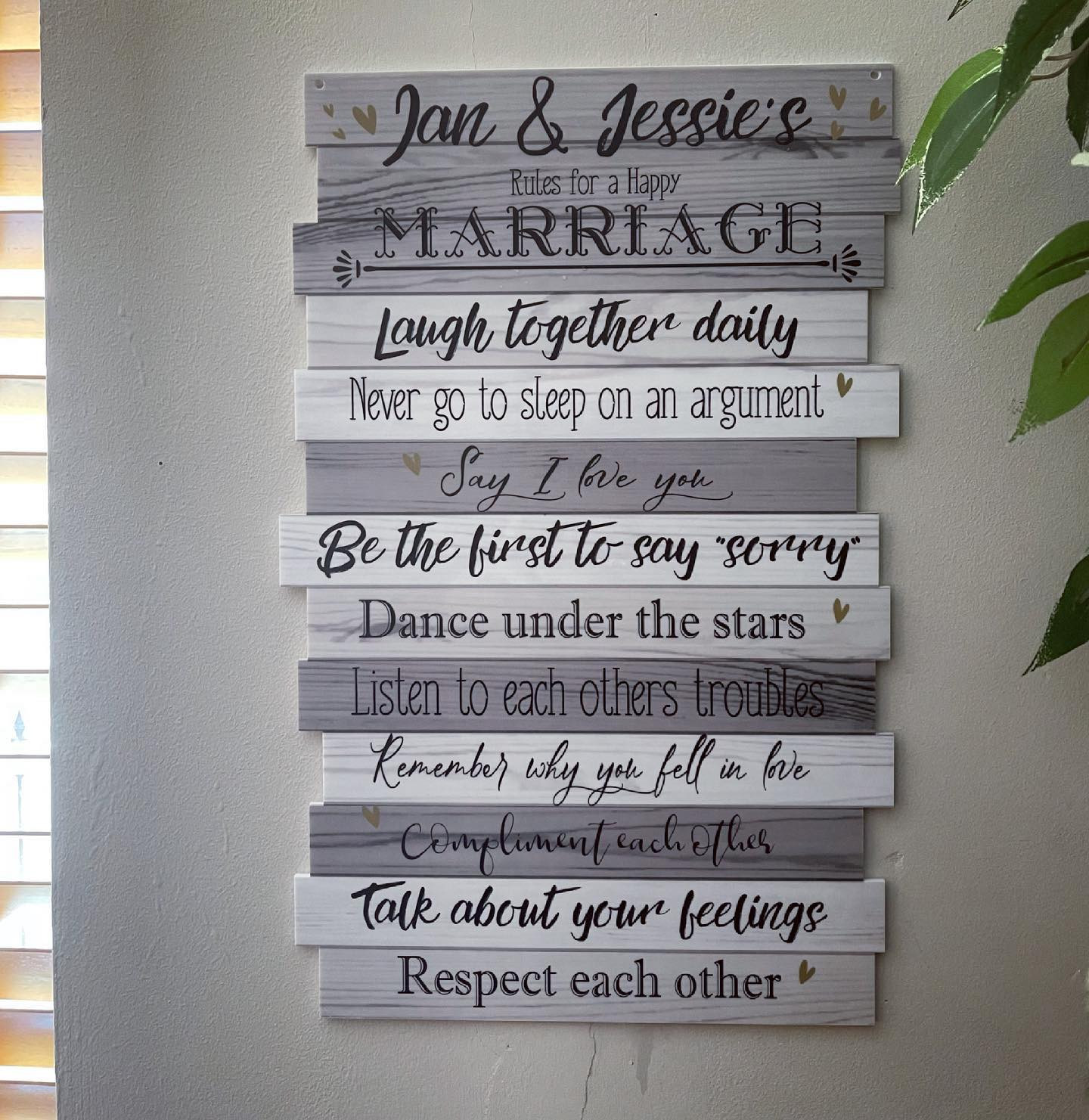 Marriage Rules Sign - Grey Wood