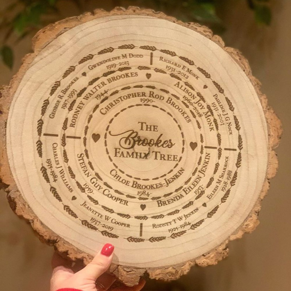 NEW Personalised Engraved Ancestry Family Tree Log Slice Large