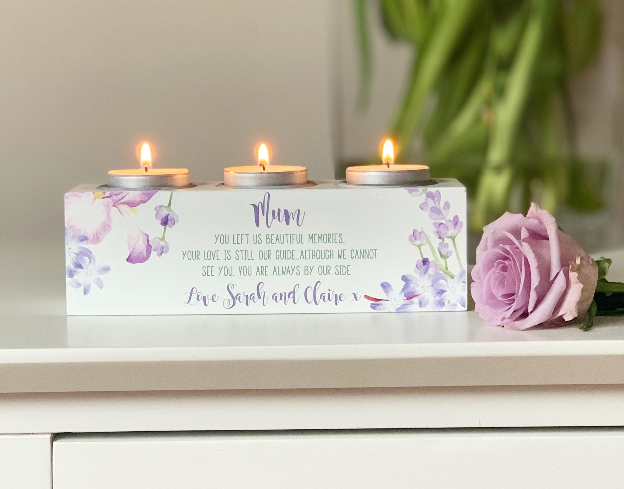 Personalised Lavender Triple Tea Light Holder