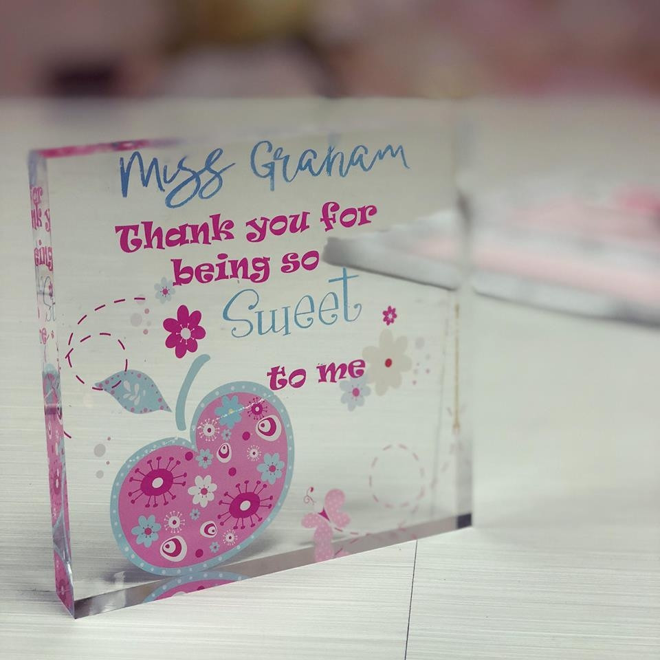 a picture of a personalised teacher floral apple acrylic block
