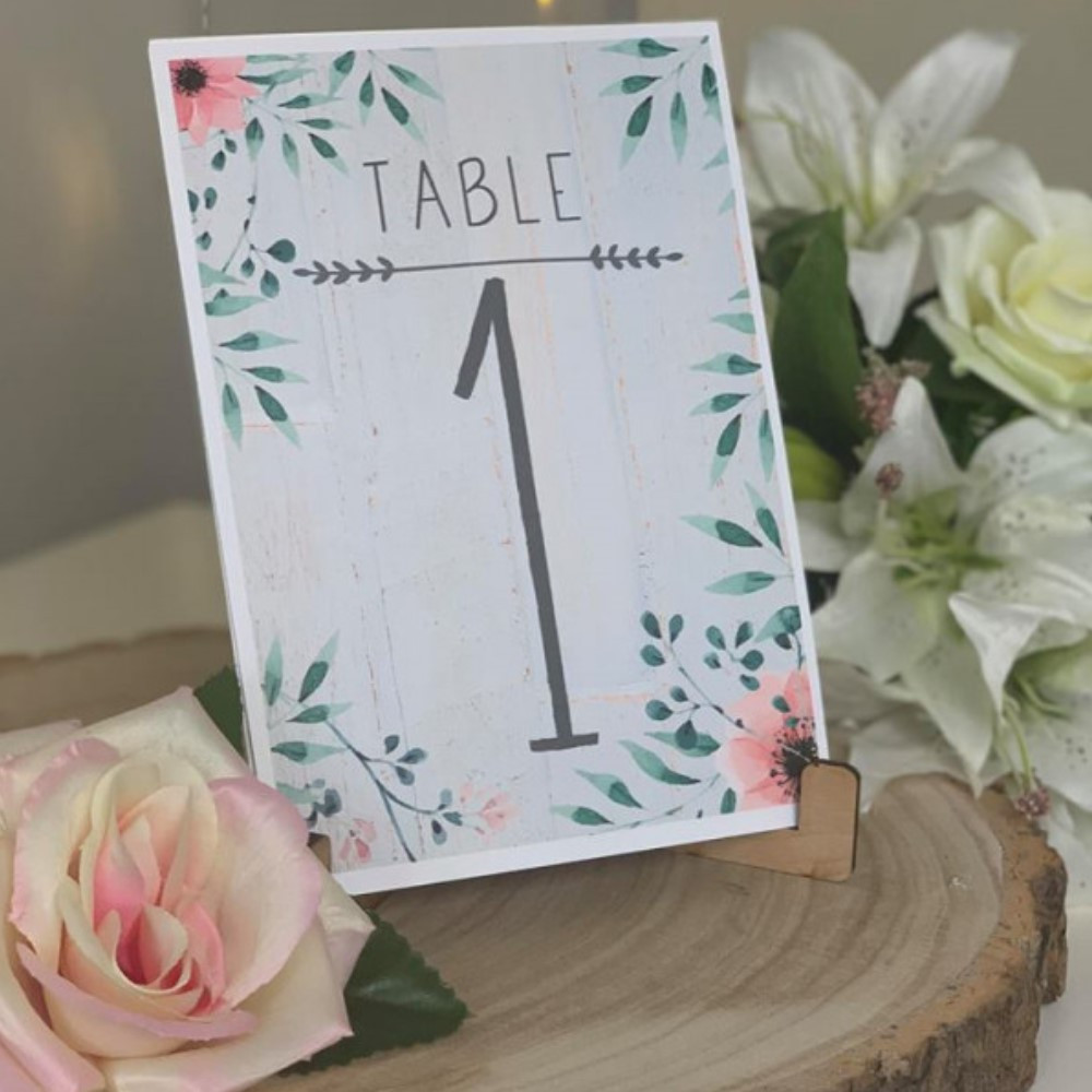 Ornate Floral Wedding Table Numbers