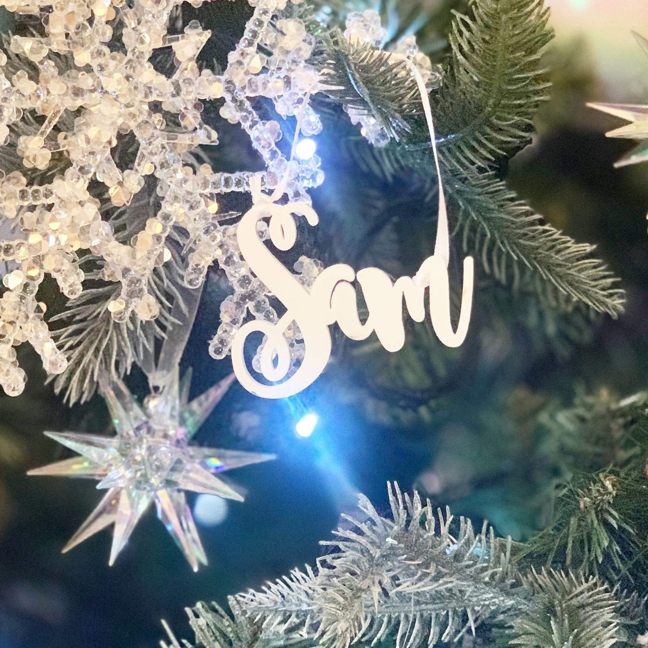 Personalised White Name Christmas Tree Decoration Curly - Icy Silver - Set of 2
