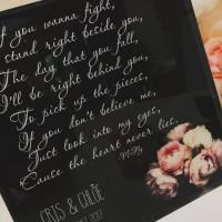 Personalised Wedding Song Lyrics Acrylic Block