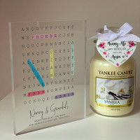 Personalised Family Word Search Acrylic Block - L Van
