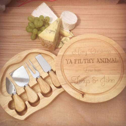 Personalised Filthy Animal Wooden Cheese Board with Knives