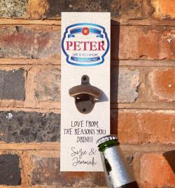 Personalised Printed Beer Bottle Opener Plaque - P