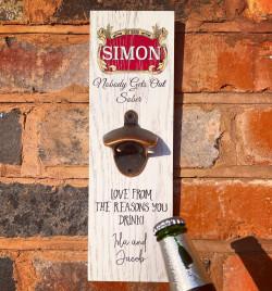 Personalised Printed Beer Bottle Opener Plaque - S