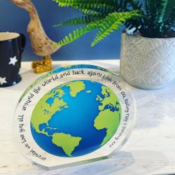 Personalised Freestanding Globe Acrylic Block
