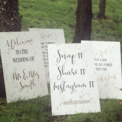 image of a marble wedding sign