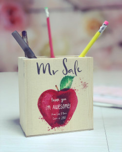 NEW Personalised Red Apple Pencil Pot