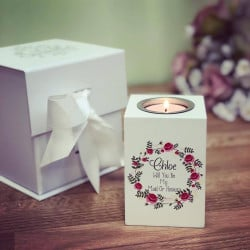 Image of Personalised Floral Tealight Candle Holder