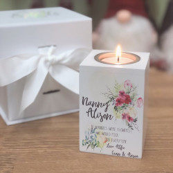 Image of Personalised Tealight Candle Holder with Floral Design