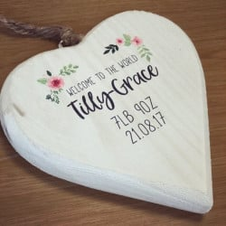Image of Personalised Floral Hanging Heart Plaque