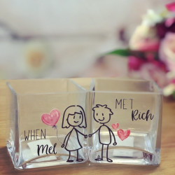 Image of Personalised Couple His & Hers Glass Tealight Holders