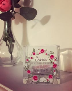 Image of Personalised Floral Wreath Glass Tealight Holder