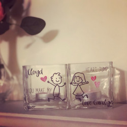 GLASS Jumping Couple Tealight Holders (Set of 2)