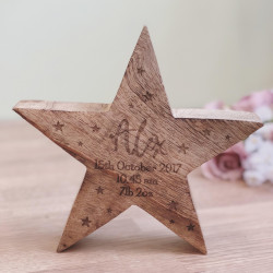 Image of Personalised Chunky Oak Star Ornament