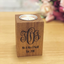 Image of Personalised Oak Tealight Candle Holder