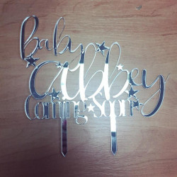 Image of Baby Coming Soon Mirrored Cake Topper