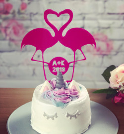 Image of Personalised Pink Flamingo Cake Topper