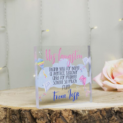 Teacher Kite And Cloud Personalised Acrylic Block (BUY ONE GET ONE FREE!)