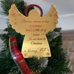 Personalised Remembrance Angel Tree Topper - Red & Gold