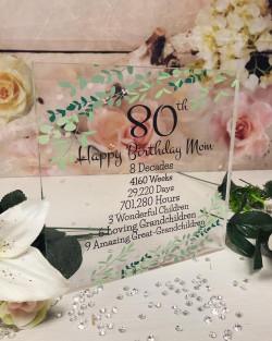 Image of personalised birthday acrylic block timeline