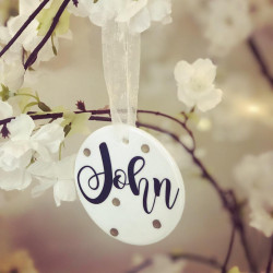 Image of personalised ceramic christmas tree decoration