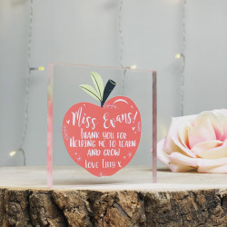 Teacher Foliage Apple Personalised Acrylic Block (BUY ONE GET ONE FREE!)