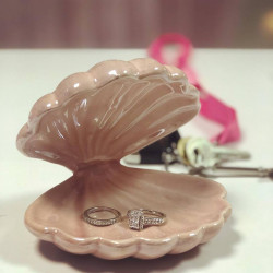 Pink Ceramic Clam Jewellery Holder