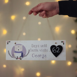 Image of personalised days until santa comes plaque