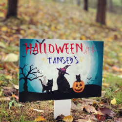Image of personalised halloween garden plaque