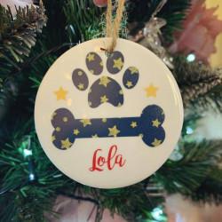 Personalised Hanging Ceramic Dog Bone Christmas Tree Decoration (BUY ONE GET ONE FREE)