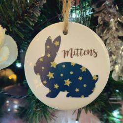 Personalised Hanging Ceramic Rabbit Christmas Tree Decoration (BUY ONE GET ONE FREE)