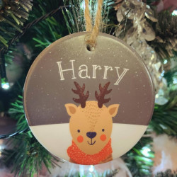 Personalised Hanging Reindeer Head Christmas Tree Decoration (BUY ONE GET ONE FREE)