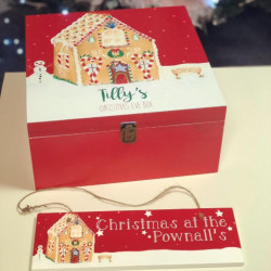 Personalised Red Gingerbread House Christmas Eve Box
