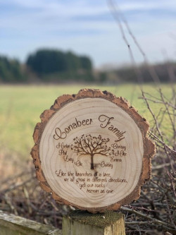 Image of Personalised Engraved Family Tree Wooden Log Slice