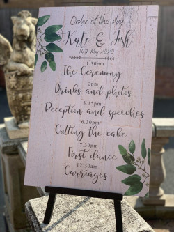 Personalised Olive Leaf Wedding Order Of The Day Sign