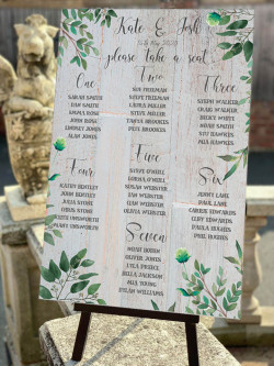 Personalised Olive Leaf Table Plan Wedding Sign