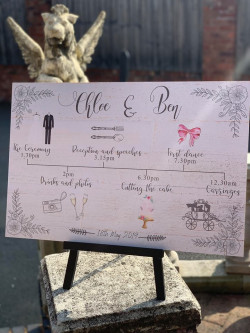 Personalised Wedding Timeline Order Of The Day Sign