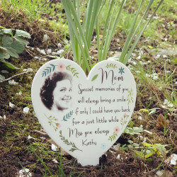 NEW Personalised Floral Photo Heart Remembrance Plaque