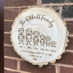 Personalised Engraved Family Characters Log Slice